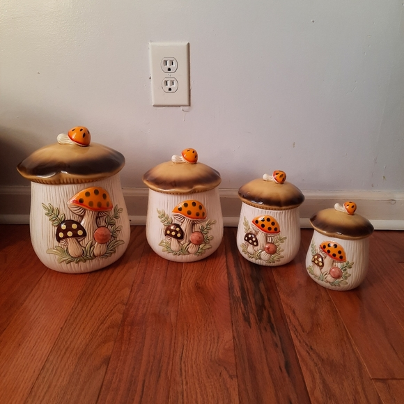 Sold on mercariVintage 70's mushrooms canister set